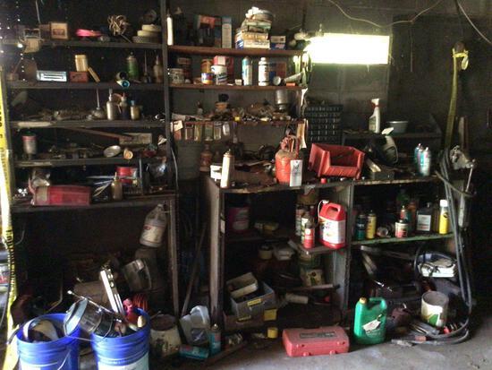 Contents of shelves including Bridgeport Vise, hardware, scrap.