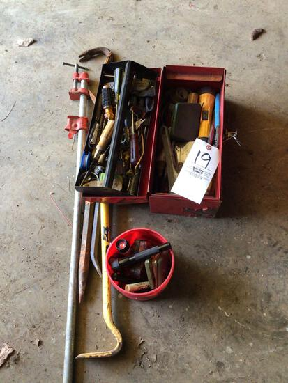 Toolbox and pry bars