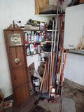 Clock, Assorted Spray Paints, Ax, Post-Hole Digger, Farm Jack, Limb Loper