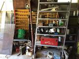 Hardware, shelving, bolt bins, Scrap.
