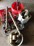 Assorted copper and brass scrap metal. And gauges.