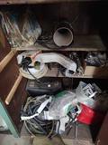 Contents of Cabinet incl. Welding Masks, Belts, hoses, Gauges