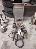 Primitives incl. Hand Drill, Washboard, Rulers, Ice/Log Tongs