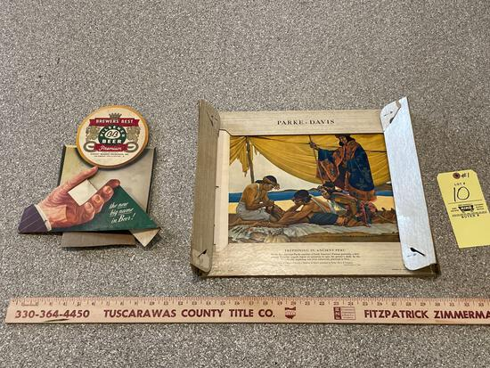 Brewers' Best Beer Advertising, Parke Davis Double-Sided American Indian Art