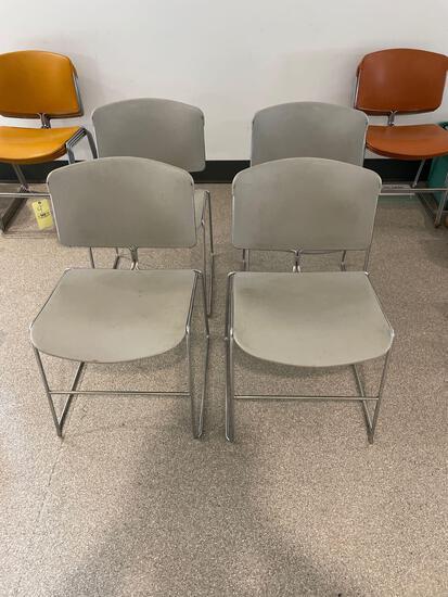 Four Mid-Century Modern Art Deco Steelcase Chairs