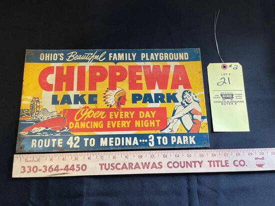 Chippewa Lake Park Amusement Park Tin Sign Advertising