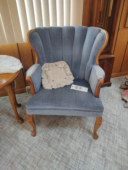2 Upholstered Victorian Style Curved Leg Chairs & Ottoman