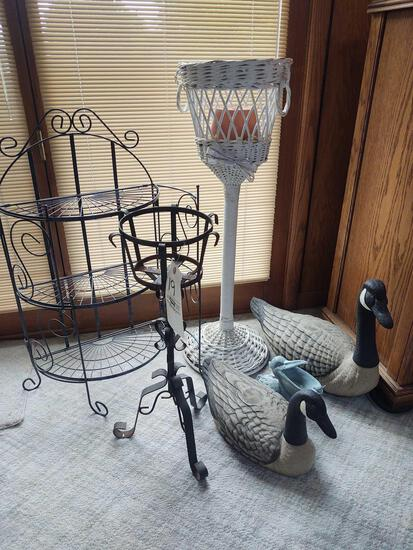 Plant Stands, Geese and Wire Display Rack