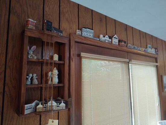 Wall Shelf w/ Assorted Cats Meow and Precious Moments