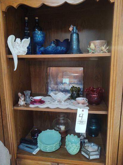 Assorted Blue Glass, tea cups, jade style dish set, Oil Lamp