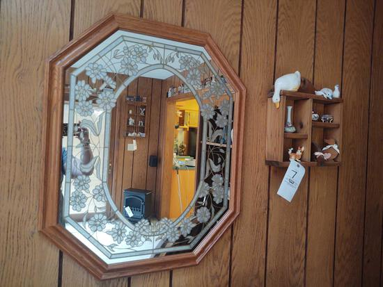 Assorted Figurines, Wall Shelf, Mirror & Bird Tapestry