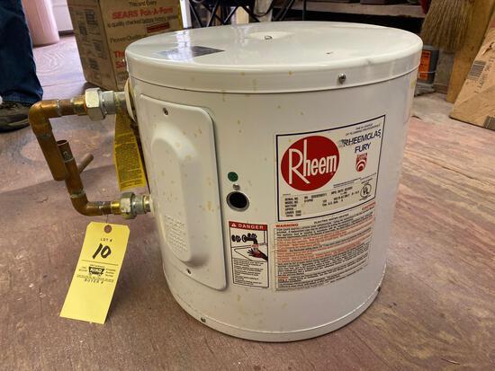 Rheem 6-gallon electric water heater, works.