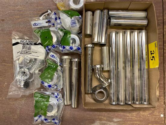 Chrome plated sink drain parts.