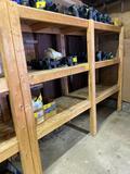 Wooden storage shelf, 8' wide x 6' tall.