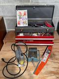 Craftsman toolbox w/ hardware contents, Stanley Sabre saw, machinist vise, 23