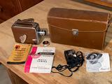 Keystone Olympic 8mm movie camera, GE exposure meter.