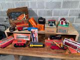 Lionel mechanical train cars, Union Pacific diesel switcher engine, transformers