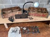 Coilmaster coil winding machine, (2) Golden Age crates, adjustable magnifying glass