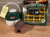 John Deere Tractor light set, Clay birdhouse, Coleman thermos.