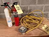 (2) Fire extinguishers, power cord w/ outlets.