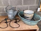 (2) Old lawn sprinklers, granite ware tub & bucket, sprinkler can.