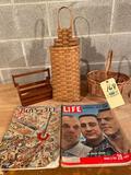 1937 Boys Life & 1961 Life magazines, (3) baskets.