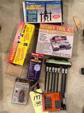 Rotary tool kit, receptacle tester, dial indicator, hex bit socket set, etc.