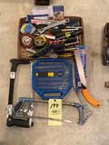 Tools, measuring tapes, saws, etc.