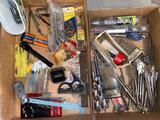 Tools, wrenches, drill bits, mini flashlight, etc.