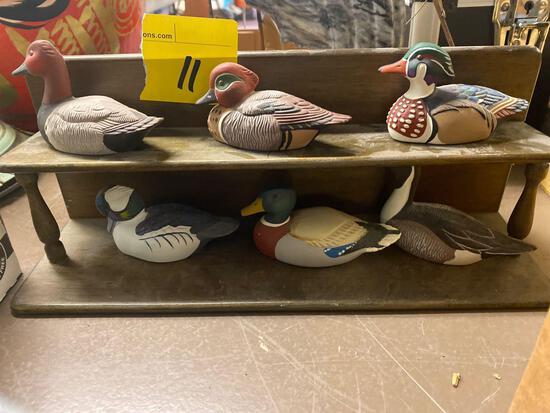 Duck display, donkey, 1 granite book end, tiger bobble head, metal ship