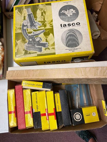 Tasco 1200xk and box of slides, accessories