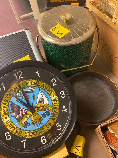 Army clock, plastic, vintage ice bucket, cast iron pan