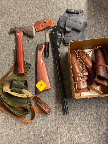 Toy gun parts, holsters, axes, belts, military knife