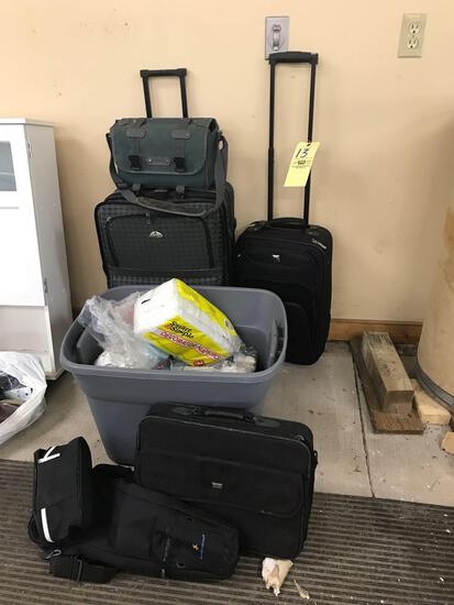 Luggage, nail polish, bathroom items