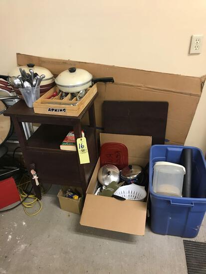 Flatware sets, pots and pans, one door stand