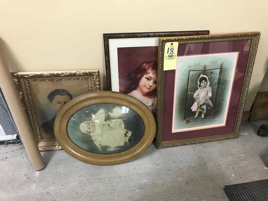 4 frames, 2 prints and 2 ancestral photos
