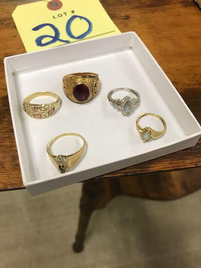 5 Gold rings (4) marked 10k (1) marked 10 possibly cut off in resizing