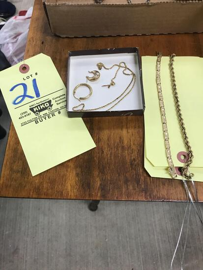 Gold chains bracelets and earrings. Chain marked 14k, bracelets 14k and 8k