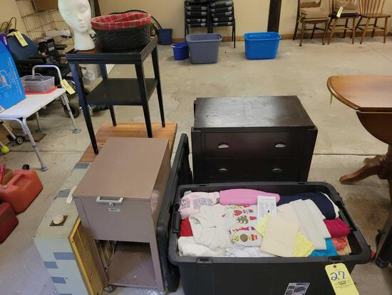 Stands, file box, box fan, tote of clothing and 3 drawer chest