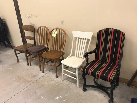 5 chairs, plank bottom, Upholstered, oak