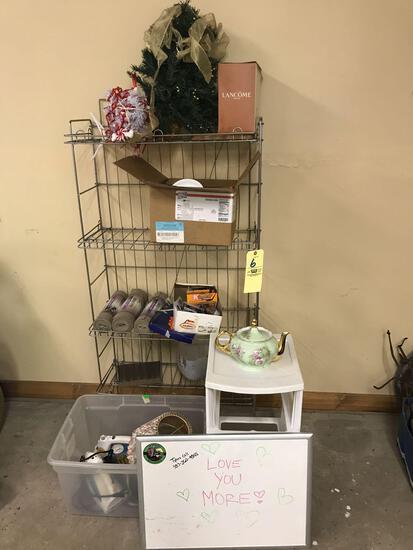 Wire shelf, white board, correlle china, irons, lefton teapot