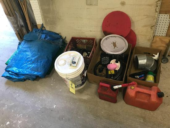 Fuel cans, sweeper parts, solid wheels