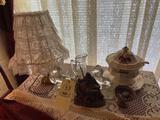 Lamp, Figurines, Bowl