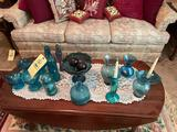 Blue Glass Vases, Bottles, Candle Sticks, Candy Dishes