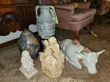 Cow Punch Bowl, Vases, Statues