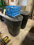 Rubbermaid Rough Neck Trash Cans, Plastic Crate