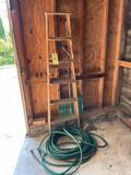 Wood Step Ladder, Snow Shovel, Hose