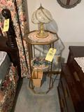 Glass Tiered Stand with Lamp and Candle Holders