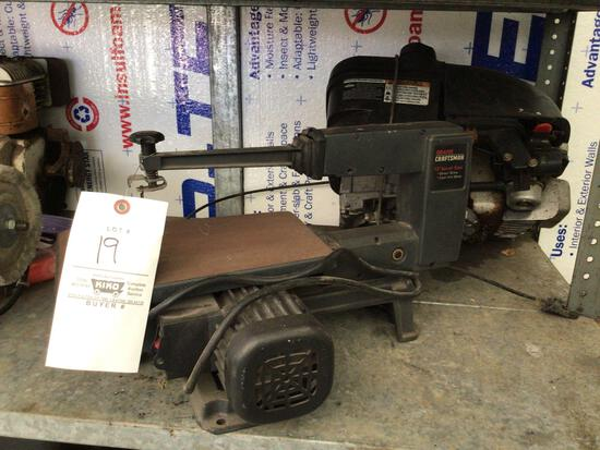 Scroll saw, 6-inch bench buffer, two gas engines