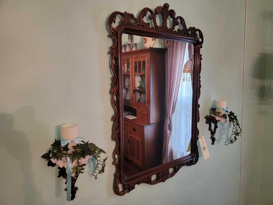 Oak Floral Carved Wall Mirror with Matching Sconces